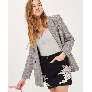 Topshop Skirts - Denim mini skirt with lace applique details